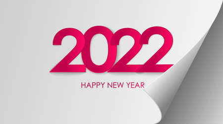 Happy New Year 2022 winter holiday greeting card design template. End of 2021 and beginning of 2022. The concept of the beginning of the New Year. The calendar page turns over and the new year begins. 矢量图像