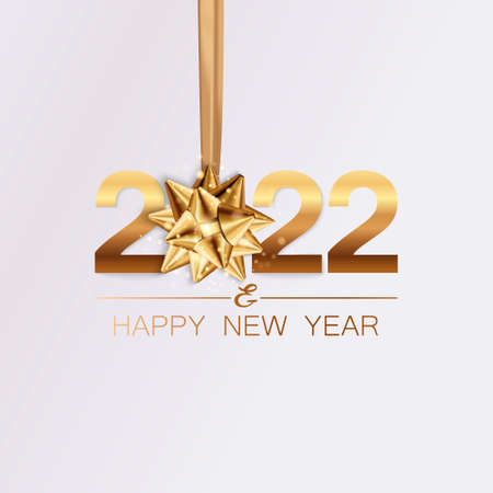 New Year banner. Background New Year design of realistic numbers 2022 with bow and ribbon. New Year poster, greeting card, header, website. Vector illustration 矢量图像