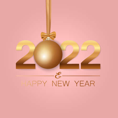 Happy New Year 2022 winter holiday greeting card design template. Party poster, banner or invitation gold glittering stars confetti glitter decoration. Vector background with golden gift bow