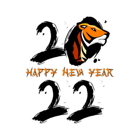 Happy Chinese New Year 2022. Zodiac sign Tiger on yellow paper. Freehand drawing logo. Vector illustration. Isolated on a yellow background.