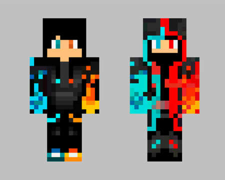 Pixel character. The concept of hero games. Gaming concept. Vector illustration