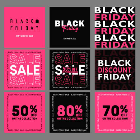 Set of vector Black Friday Sale Banner collection. Sale background. Social advertising poster templates 矢量图像