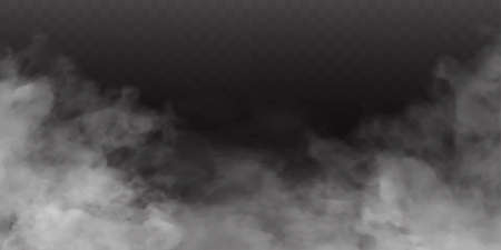 White fog or smok. Realistic fog. Atmosphere mist effect and smoke clouds isolated on transparent background. Vector abstract cloud texture