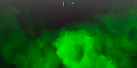 Green fog or smok. Realistic fog. Atmosphere mist effect and smoke clouds isolated on transparent background. Vector abstract cloud texture 矢量图像