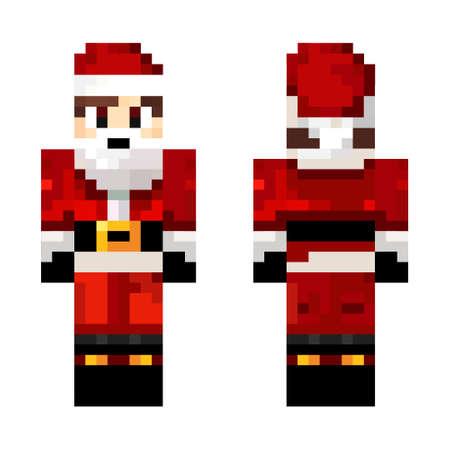 Pixel game. Skin Santa Claus. Heroe game concept. Concept of game characters wearing a Santa Claus hat. Vector illustration 矢量图像
