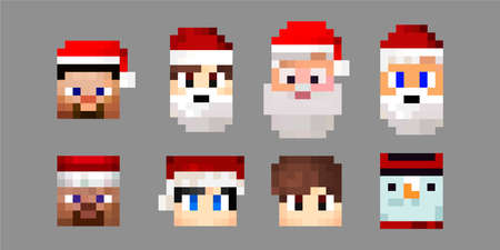 Set of pixel christmas characters avatars. Heroes game concept. Game characters concept avatars. Sanata Klaus, a snowman, a hero with a hat. Vector illustration