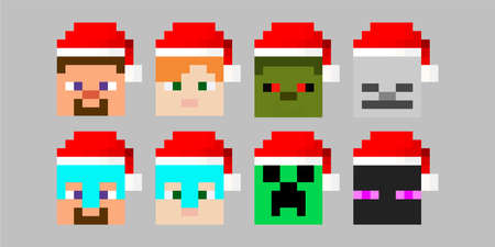 Set of pixel avatars with Santa Claus hat. Heroes game concept. Avatars concept of game characters. Vector illustration