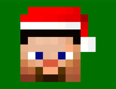 Pixel avatars. Santa Claus hat skin. Heroe game concept. Avatar concept of game characters wearing a Santa Claus hat. Vector illustration