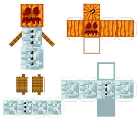 Papercraft Pixel character Snowman. Papercraft 5 Classic Blocks. Golem snowman. The concept of hero games. The concept of hero games. Gaming concept. Vector illustration 矢量图像