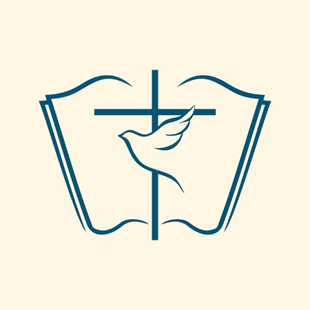 bible: Dove and cross on an open bible