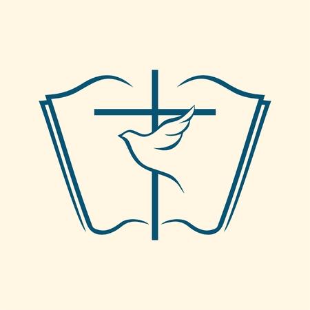 biblia: Paloma y cruz en una biblia abierta