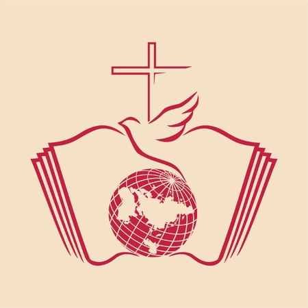 Dove and cross on a globe with bible as background