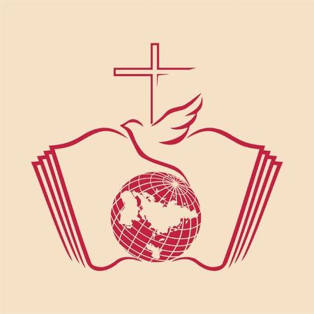 Dove and cross on a globe with bible as background Zdjęcie Seryjne - 46007439