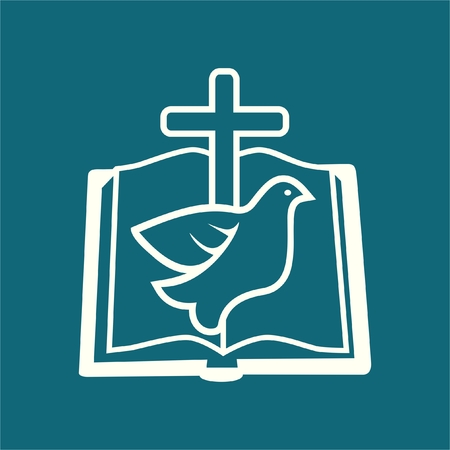 open bible: Dove and cross on an open bible  Illustration