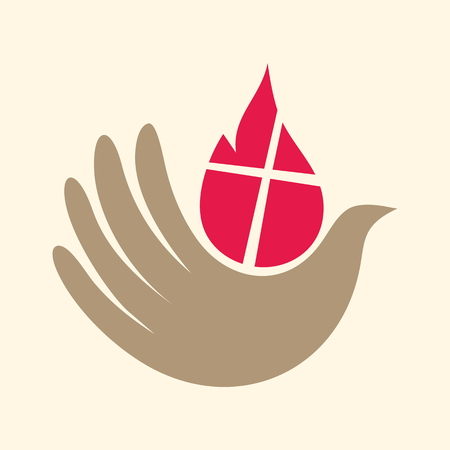 Church . Dove, hand, flame, holy spirit, Pentecost, icon Illustration