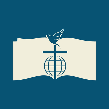 open bible: Church . Dove, cross, globe, open Bible, icon
