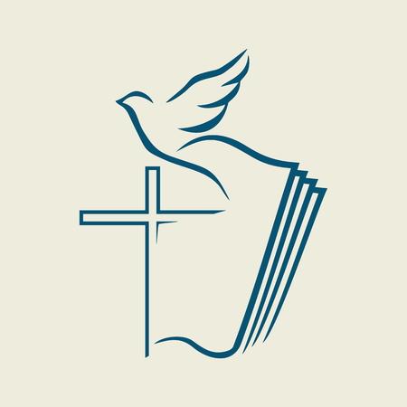 Kerk . Cros, duif, en het pictogram Bijbel
