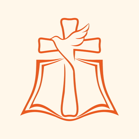 Kerk . Heilige geest, kruis, duif, Bijbel Stock Illustratie