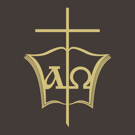 Church logo. Alpha and Omega, Bible, and cross
