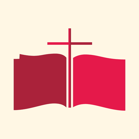 holy bible: Church logo. Cross between pages of Bible icon