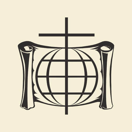 Church logo. Cross, scroll, globe, international, worldly, christianity, missionary, icon Vectores