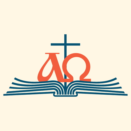 Church logo. Alpha and Omega on pages of Bible icon