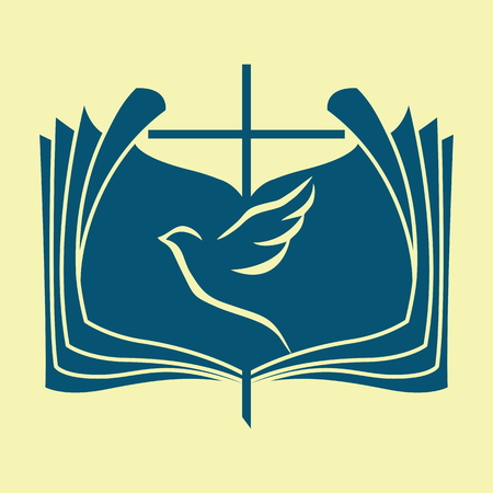 bible and cross: Church logo. Dove, Bible, cross Illustration