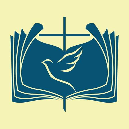 Church logo. Dove, Bible, cross Illustration