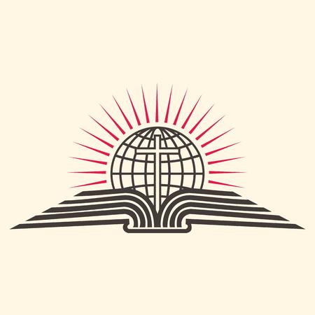 Church logo. Globe, cross, open Bible, icon