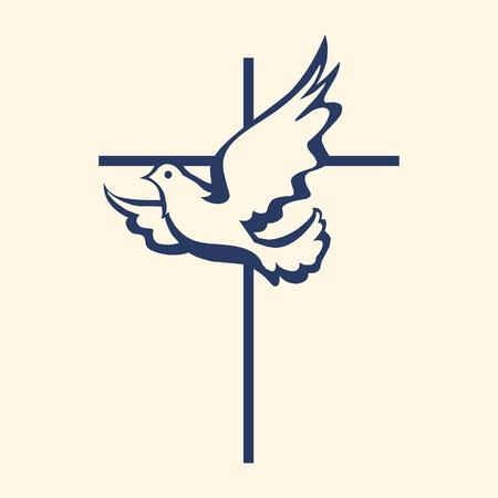 Église logo. Dove et croix Logo