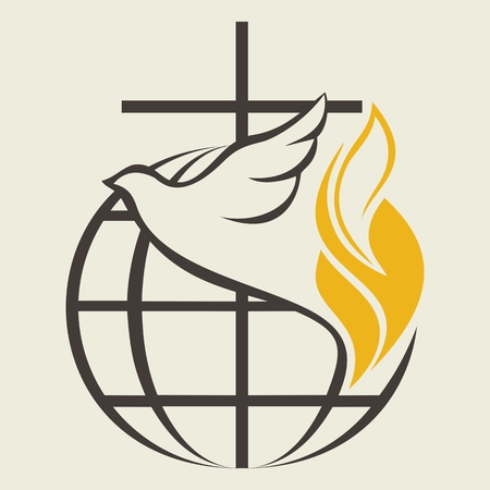 Church logo. Globe, holy spirit, dove, cross, flame, Pentecost Vectores