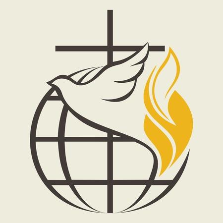 cruz religiosa: Logo Iglesia. Globo, espíritu santo, paloma, cruz, llama, Pentecostés Vectores