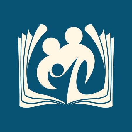 familia en la iglesia: Logo Iglesia. Familia y el icono de la Biblia