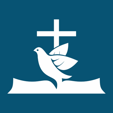 Church logo. Open Bible, dove, cross, holy spirit, Bible, pages