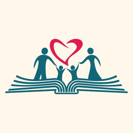 Famille, debout sur une icône de la Bible Banque d'images - 46566558