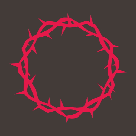 Kroon van doornen in het rood