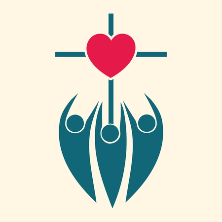 Church logo. People hands reaching to cross and heart 일러스트