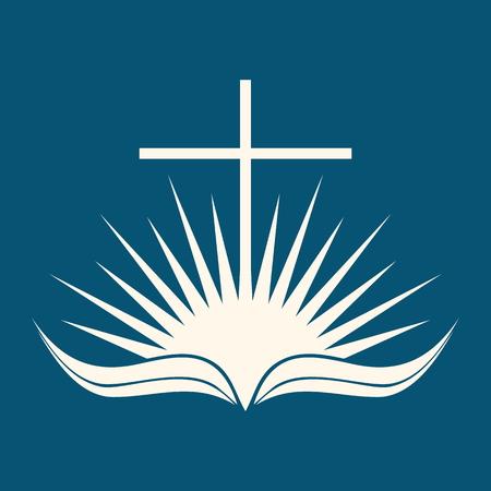 cruz religiosa: Logo Iglesia. Salida del sol, cruz, página, la Biblia, la Biblia abierta, icono, sol