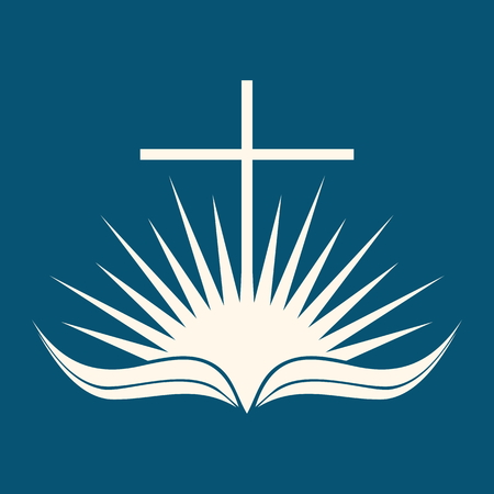 Church logo. Sunrise, cross, page, Bible, open Bible, icon, sun Illustration