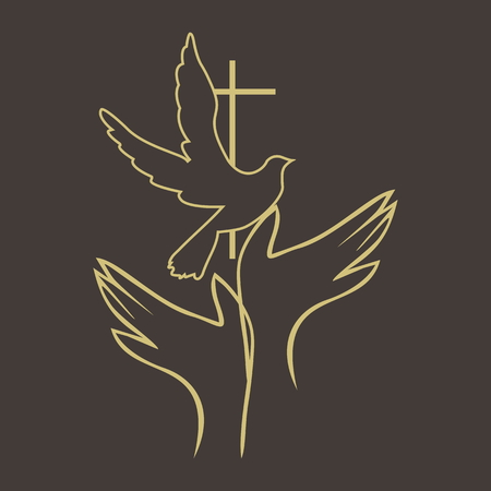 Church . Hands, dove, holy spirit, cross, icon
