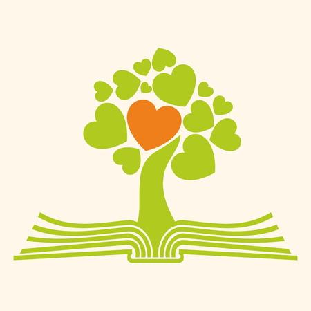 성경의 페이지에 마음 나무 일러스트