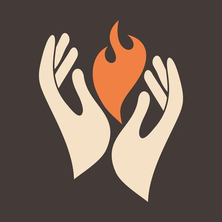 prayer: Flame in hands