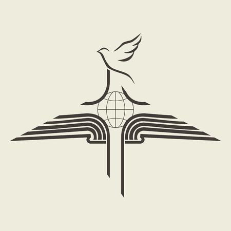 cruz de jesus: Globo, cruz, la Biblia abierta, icono, viaje de la misión, las misiones, a difundir la palabra de Dios, la iglesia