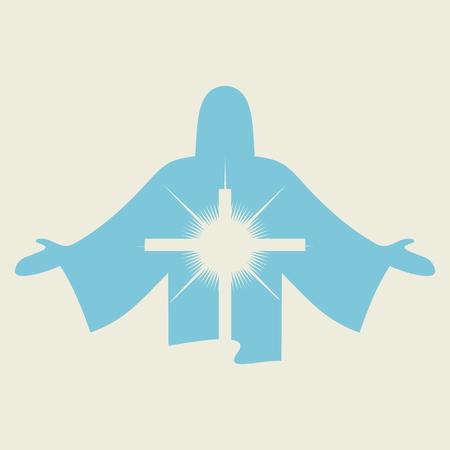 Jezus i krzyż ikona