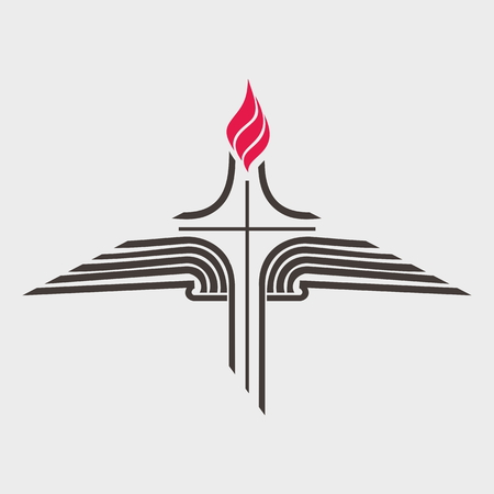 bible open: Flame, cross, and open Bible Illustration