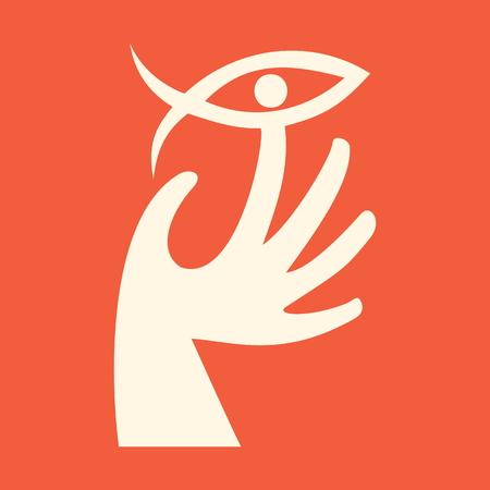 jesus fish: Hand and Jesus fish Illustration