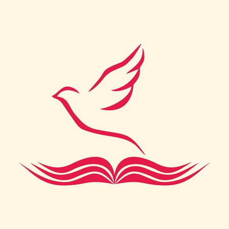 holy god: Church logo. Dove and open bible