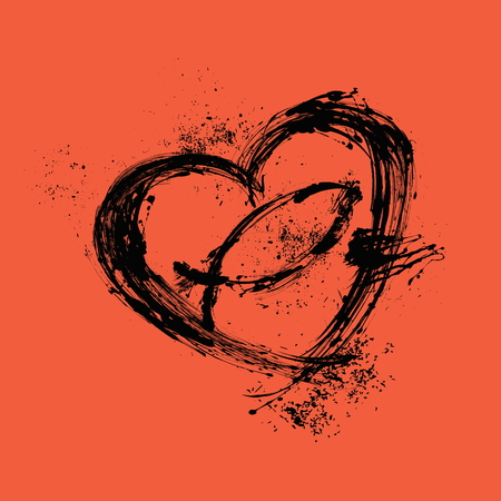 christianity: Brush strokes heart and cross Illustration