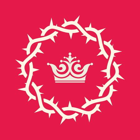 corona de espinas: Corona, derechos, corona de espinas, rey, reino, reinado, icono Vectores