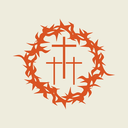 crown of thorns: Three crosses in a crown of thorns